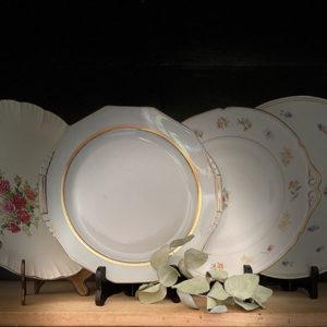 Location vaisselle Angers - Plat desert fleurette