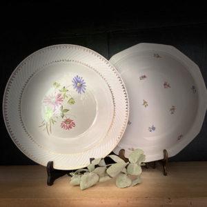 Location vaisselle Angers - Plat rond creux fleurette