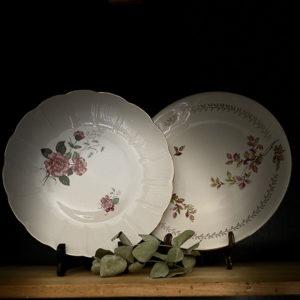 Location vaisselle Angers - Plat rond fleurette