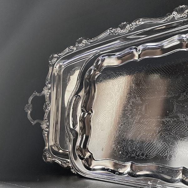 Plateau métal argente ciselé